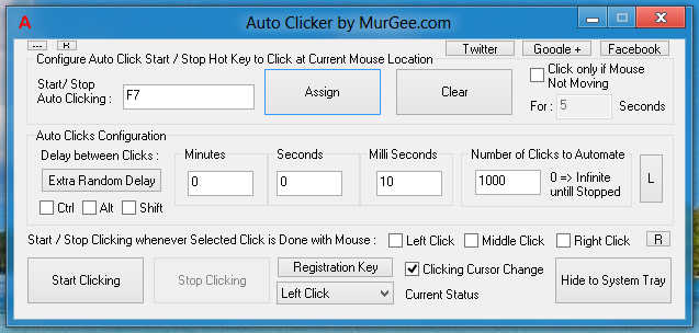 MurGee Auto Clicker Controlled with Keyboard Shortcut Key